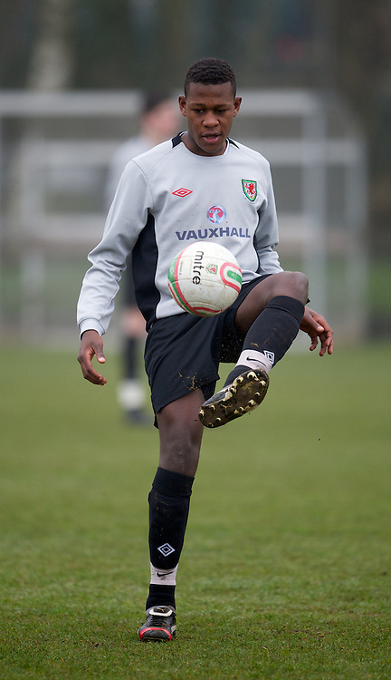 CARDIFF, WALES - Thursday, March 15, 2012: Wales U16's Rollin Menayese (Cardiff City FC & St Joseph RC High School) during a training session at the Glamorgan Sports Park. (Pic by David Rawcliffe/Propaganda)