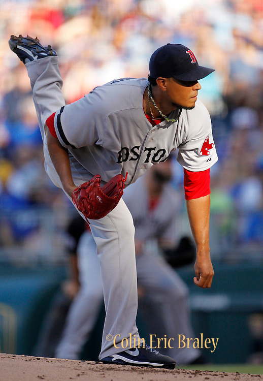 Boston Red Sox pitcher Felix Doubront throws to a batter in the first inning of a baseball game against the Kansas City Royals at Kauffman Stadium in Kansas City, Mo., Saturday, Aug. 10, 2013. (AP Photo/Colin E. Braley)