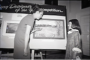 "28/06/1967<br /> 06/28/1967<br /> 28 June 1967<br /> Presentation of prizes at Navan Carpets ""Young Designer of the Year"" reception in the Royal Hibernian Hotel, Dublin. Image shows Miss Elizabeth Fogarty, Navan Carpets Ltd. with Miss Jennifer Lane, Balbriggan who won joint 1st and 2nd prize in the Junior Section, in front of her design."