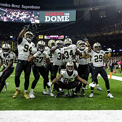Oct 8, 2018; New Orleans, LA, USA New Orleans Saints defenders pose after an interception by cornerback Justin Hardee (34) during the third quarter against the Washington Redskins at the Mercedes-Benz Superdome. The Saints defeated the Redskins 43-19.