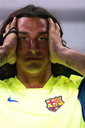 Zlatan Ibrahimovic sits on the bench during the Joan Gamper Trophy match between Barcelona and Manchester City at the Camp Nou Stadium on August 19, 2009 in Barcelona, Spain. Manchester City won the match 1-0.