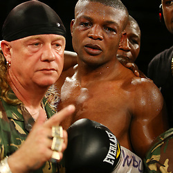 """DURBAN, SOUTH AFRICA - MAY 16: Ilunga """"JUNIOR"""" Makabu during the WBC Eliminator bout bout between Thabiso """"THE ROCK"""" Mchunu and Ilunga """"JUNIOR"""" Makabu at Inkosi Albert Luthuli ICC on May 16, 2015 in Durban, South Africa. (Photo by Steve Haag)"""