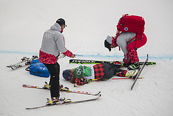 February 23, 2018 - Pyeongchang, SOUTH KOREA - 180223 India Sherret of Canada with an injury after a fall in the Women's Freestyle Ski Cross 1/8 Final during day fourteen of the 2018 Winter Olympics on February 23, 2018 in Pyeongchang..Photo: Carl Sandin / BILDBYRÃ…N / kod CS / 57999_318 (Credit Image: © Carl Sandin/Bildbyran via ZUMA Press)