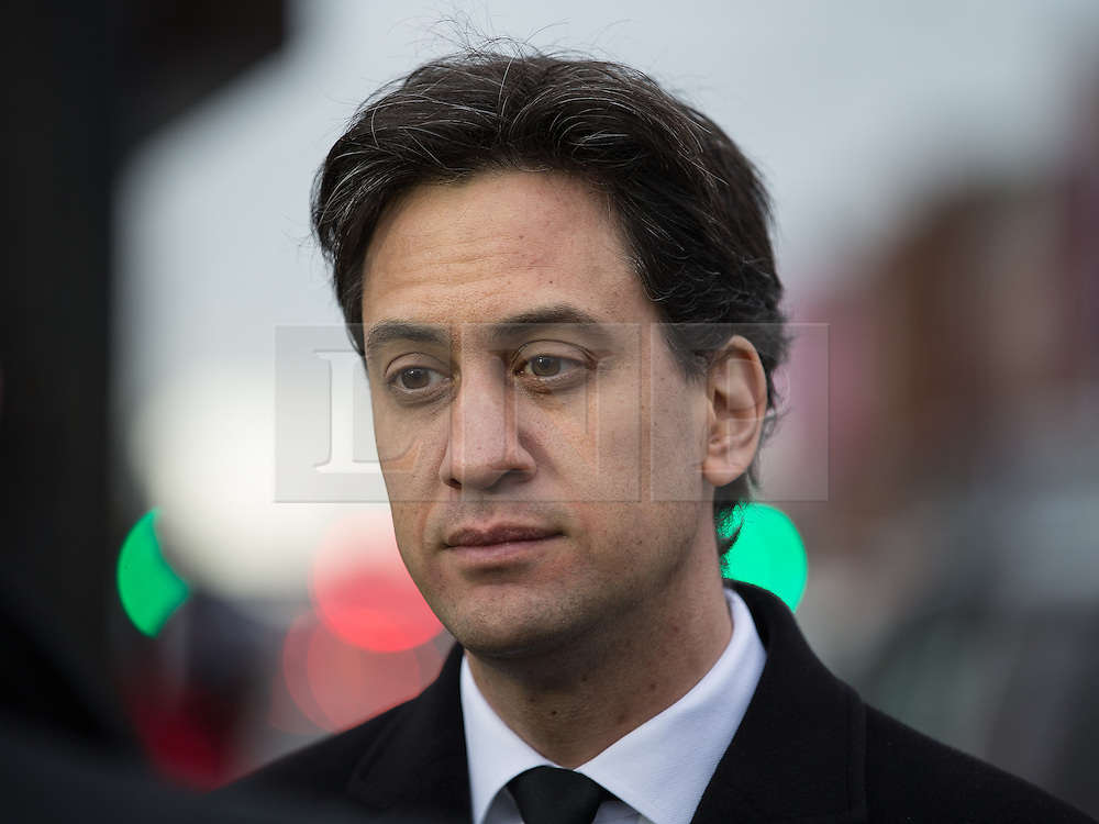 © Licensed to London News Pictures . 16/01/2014 . Salford , UK . ED MILIBAND MP , the leader of the Labour Party and MP for Doncaster North , after the service . The funeral of Labour MP Paul Goggins at Salford Cathedral today (Thursday 16th January 2014) . The MP for Wythenshawe and Sale East died aged 60 on 7th January 2014 after collapsing whilst out running on 30th December 2013 . Photo credit : Joel Goodman/LNP