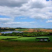Bus, Solar Farm, panels, quarry, fields, farm, tractors, trailers, silage, Blackwater, Isle of Wight, England, UK,
