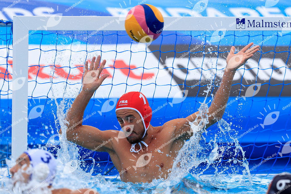 Remi Garsau of France<br /> Greece (white cap) -  Spain (blue cap)<br /> Quarterfinal  Round Water Polo Women<br /> Day10  23/07/2017 <br /> XVII FINA World Championships Aquatics<br /> Alfred Hajos Complex Margaret Island  <br /> Budapest Hungary <br /> Photo @Deepbluemedia/Insidefoto Photo @Marcelterbals/Deepbluemedia/Insidefoto