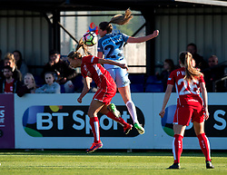 Claire Emslie of Bristol City Women competes for a high ball with Abbie McManus of Manchester City Women - Mandatory by-line: Paul Knight/JMP - 09/05/2017 - FOOTBALL - Stoke Gifford Stadium - Bristol, England - Bristol City Women v Manchester City Women - FA Women's Super League Spring Series