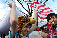 Apr, 2, 2011, Cambridge, Boston, Massachusetts, Massachusetts - A participant in World Pillow Fight Day prepares his attack. Photo by ©Lathan Goumas.