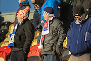 Hartlepool United fans during the EFL Sky Bet League 2 match between Newport County and Hartlepool United at Rodney Parade, Newport, Wales on 28 January 2017. Photo by Andrew Lewis.