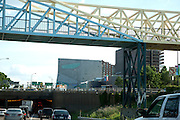 Irene Hixon Whitney Bridge designed by Siah Armajani facing the Walker Art Center on Freeway 94. Minneapolis Minnesota MN USA