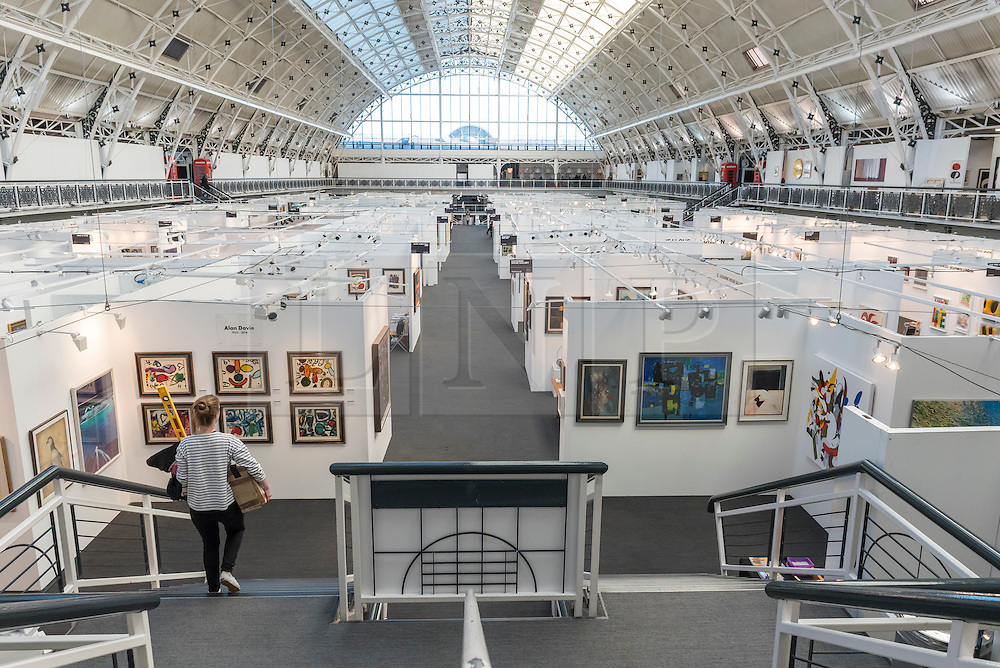 © Licensed to London News Pictures. 17/01/2017. London, UK. View of gallery spaces at the preview of the 29th London Art Fair, the UK's premier fair for Modern British and contemporary art, taking place at the Business Design Centre in Islington from 18-22 January 2017, where 129 galleries from 18 different countries will be presenting their artworks. Photo credit : Stephen Chung/LNP