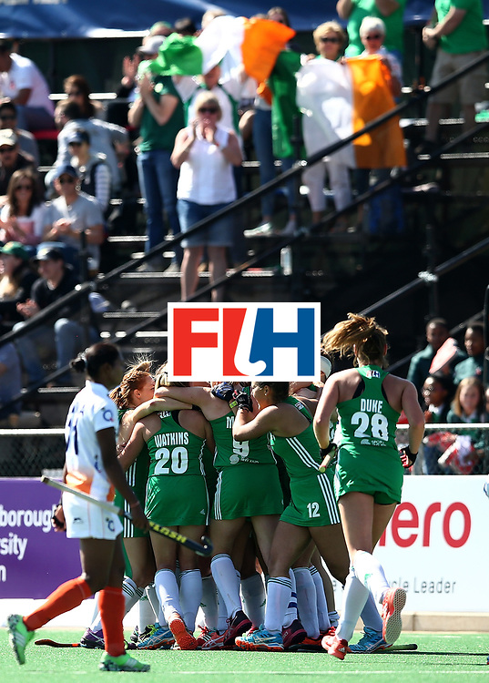 JOHANNESBURG, SOUTH AFRICA - JULY 22:  Iraland players celebrate victory at the final whistle during day 8 of the FIH Hockey World League Women's Semi Finals 7th/ 8th place match between India and Ireland at Wits University on July 22, 2017 in Johannesburg, South Africa.  (Photo by Jan Kruger/Getty Images for FIH)