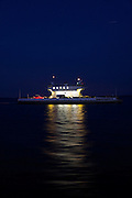 Jamestown-Scotland Ferry on the James River at night. Crossing from Surry County to James City County.