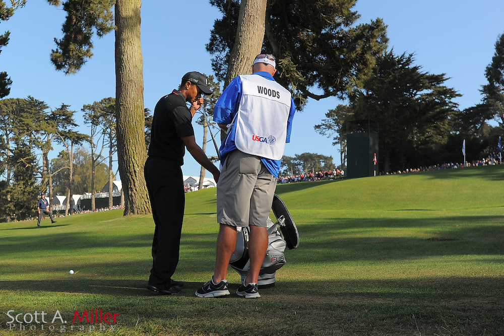 Tiger Woods and his caddie Joe LaCava during the second round of the 112th U.S. Open at The Olympic Club on June 15, 2012 in San Fransisco. ..©2012 Scott A. Miller