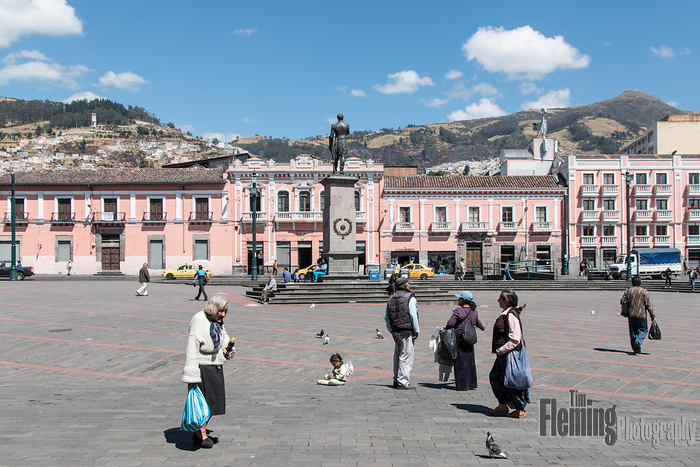Plaza Santo Domingo in Quito, Ecuador is a popular gathering place for locals and tourists alike.