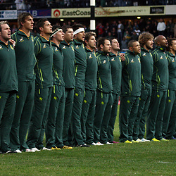 DURBAN, SOUTH AFRICA - JUNE 09, Players sing the national anthem before game during the 1st Castle Lager Incoming Tour test match between South Africa and England from Mr Price Kings Park on June 09, 2012 in Durban, South Africa<br /> Photo by Steve Haag / Gallo Images