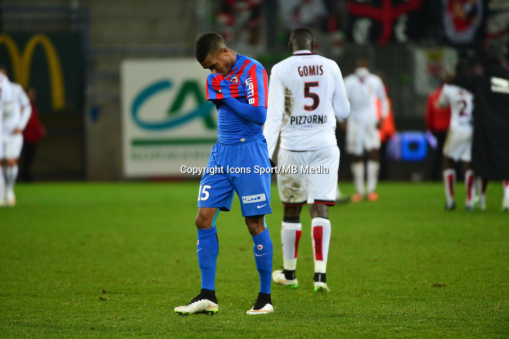 Deception Emmanuel IMOROU - 05.12.2014 - Caen / Nice - 17eme journee de Ligue 1 -<br />