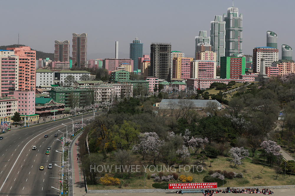 A general view of a new Ryo Myong street in Pyongyang, North Korea, 12 April 2017. North Koreans prepare to celebrate the 'Day of the Sun Festival', 105th birthday anniversary of former North Korean supreme leader Kim Il-sung in Pyongyang on 15 April.
