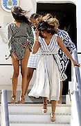 MADRID, SPAIN,2016, JUNE 29 <br /> <br /> The first lady Michelle Obama landed in Madrid on Wednesday afternoon accompanied by his daughters Malia and Sasha, and her mother, Marian Robinson, which is the last leg of a tour that has also taken them to travel Liberia and Morocco to campaign for education of girls. Precisely Barack Obama will land in our country ten days later on his first official visit. Michelle Obama was received at the Torrejon airbase by the US ambassador in Madrid, James costs, as well as the introducer of ambassadors, Juan Sunyé, and the general manager for North America, Asia and Pacific, Fidel Sendagorta.<br /> ©Exclusivepix Media