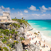 The Maya ruins at Tulum sit on a beautiful beach on Mexico's Mayan Riviera on the eastern coast of the Yucatan Peninsula. It was once known as Zama (dawn) because, being on the far eastern edge of Mexico, it was one of the first places in the country to see the dawn. Tulum was a commercial port that traded extensively throughout Central America and Central Mexico. It is now a popular tourist destination, in party because it sits on beautiful Caribbean beaches.