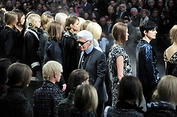 Designer Karl Lagerfeld after Chanel Fall-Winter 2011/2012 Ready-to-Wear collection show held at Le Grand Palais, in Paris, France on March 8, 2011. Photo by Frederic Nebinger/ABACAPRESS.COM