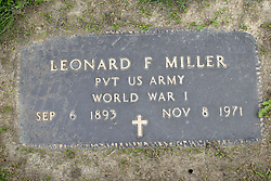 31 August 2017:   Veterans graves in Park Hill Cemetery in eastern McLean County.<br /> <br /> Leonard F Miller  Private US Army  World War I  Sep 6 1893  Nov 8 1971