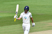 50 for Joe Weatherley of Hampshire - Joe Weatherley of Hampshire celebrates scoring a half century during the Specsavers County Champ Div 1 match between Hampshire County Cricket Club and Surrey County Cricket Club at the Ageas Bowl, Southampton, United Kingdom on 11 June 2018. Picture by Graham Hunt.