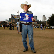 Volunteer Lowell Dworin attends a rally held for U.S. Senator Barack Obama in Austin, Texas, February 23, 2007.