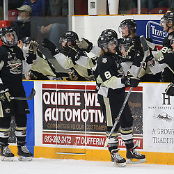 """TRENTON, ON  - MAY 2,  2017: Canadian Junior Hockey League, Central Canadian Jr. """"A"""" Championship. The Dudley Hewitt Cup Game 2 between Trenton Golden Hawks and Powassan Voodoos.   Liam Morgan #8 and Anthony Sorrentino #77 of the Trenton Golden Hawks celebrate with their Trenton Golden Hawks teammates during the second period<br /> (Photo by Alex D'Addese / OJHL Images)"""