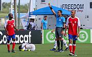 Team Haiti forward Shelby Phanor (11) receives a yellow card during a CONCACAF boys under-15 championship soccer game, Sunday, Aug. 4, 2019, in Bradenton, Fla. The USA defeated Haiti 2-0 (Kim Hukari/Image of Sport)