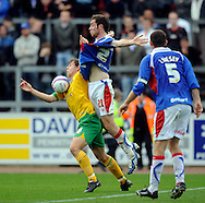 Carlisle - Saturday October 10th, 2009: Richard Keogh (R) of Carlisle United and Grant Holt of Norwich City during the Coca Cola League One match at Brunton Park, Carlisle. (Pic by Jed Wee/Focus Images)..