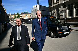 © Licensed to London News Pictures. 22/05/2017. London, UK. Entertainer MICHAEL BARRYMORE (right) leaves The High Court in London, where he is seeking damages after being arrested by Essex police in connection with the death of Stuart Lubbock. Photo credit: Ben Cawthra/LNP