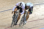 Max Niederlag of Germany and Matthew Glaetzer of Australia compete in the Men's Sprint final during the UCI Cycling World Cup at the Avantidrome, Cambridge, New Zealand, Sunday, December 06, 2015. Credit: Dianne Manson/CyclingNZ/UCI