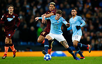 Football - 2018 / 2019 UEFA Champions League - Group F: Manchester City vs. 1899 Hoffenheim<br /> <br /> John Stones of Manchester City and Joelinton of Hoffenheim at The Etihad.<br /> <br /> COLORSPORT/LYNNE CAMERON