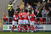 Rotherham United celebrate goal scored by Rotherham United player Michael Smith (24) to go 2-0 during the EFL Sky Bet League 1 match between Rotherham United and Bristol Rovers at the AESSEAL New York Stadium, Rotherham, England on 18 January 2020.