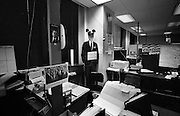 USA Presidential Election Campaign. Bill Clinton campaign HQ, Little Rock, Arkansas, USA. 1992<br /> Cardboard cut out of President George Bush wearing 'Micky Mouse' ears in the campaign HQ on a quiet Sunday morning.<br /> Copyright owned photograph the Independent Newspaper&copy; 1992