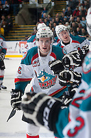 KELOWNA, CANADA - JANUARY 24: Cole Linaker #26 of Kelowna Rockets celebrates a goal against the Everett Silvertips on January 24, 2015 at Prospera Place in Kelowna, British Columbia, Canada.  (Photo by Marissa Baecker/Shoot the Breeze)  *** Local Caption *** Cole Linaker;