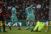 Arsenal FC (The Gunners) celebrate an own goal by AFC Bournemouth FC during the Premier League match between Bournemouth and Arsenal at the Vitality Stadium, Bournemouth, England on 25 November 2018.