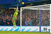 Arsenal goalkeeper Bernd Leno (1) makes a save during the Premier League match between Chelsea and Arsenal at Stamford Bridge, London, England on 21 January 2020.