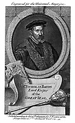 Nicholas Bacon (1509-79) English statesman; staunch Protestant; out of favour under Mary I; under Elizabeth I created Lord Keeper of the Great Seal (1558).  Father of Francis Bacon. Copperplate engraving 1750.