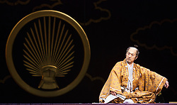 © Licensed to London News Pictures. 31/01/2013. London, England. Masachika Ichimura as Shogun Ieyasu Tokugawa. ANJIN, The Shogun and the English Samurai opens at Sadler's Wells Theatre with a run to 9 February 2013. With Masachika Ichimura as the Shogun Ieyasu Tokugawa and Stephen Boxer as William Adams/Anjin. William Adams, known in Japanese as Anjin, was an English maritime pilot who is believed to be the first Englishman to ever reach Japan. His story is brought to the stage in a new play directed Director Gregory Doran, written by Mike Poulton with Shoichiro Kawai. Photo credit: Bettina Strenske/LNP