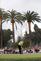 18 February 2007: Phil Mickelson makes par on the 10th hole (second playoff hole) during the final day of the Nissan Open PGA golf tournament at the Riviera Country Club in Los Angeles, CA.