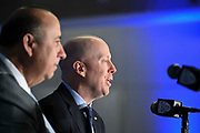 Mick Cronin is introduced as the UCLA Bruins new head basketball coach flanked by athletic director Dan Guerrero at a news conference on the campus in Los Angeles Wednesday, April 10, 2019. Cronin was hired as UCLA's basketball coach Tuesday, ending a bumpy, months-long search to find a replacement for the fired Steve Alford. The university said Cronin agreed to a $24 million, six-year deal. (Dylan Stewart/Image of Sport)