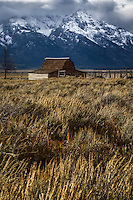 The John Moulton barn stands just off Antelope Flats road in Grand Teton National Park with the Teton Mountain range providing a dramatic backdrop.
