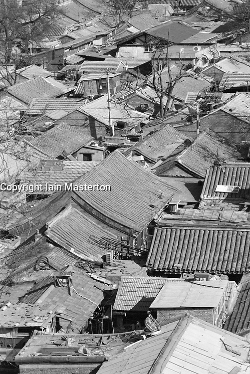 Old rooftops of houses in hutong area of Beijing China