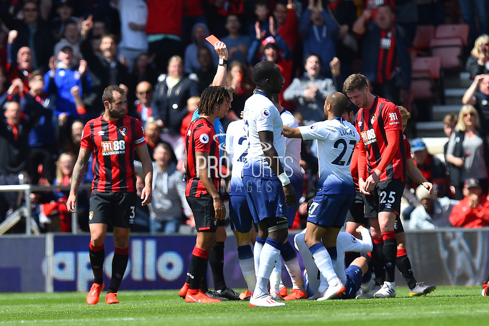 A red card is shown to Son Heung-Min (7) of Tottenham Hotspur as he is sent off for violent conduct after and incident with Jefferson Lerma (8) of AFC Bournemouth during the Premier League match between Bournemouth and Tottenham Hotspur at the Vitality Stadium, Bournemouth, England on 4 May 2019.