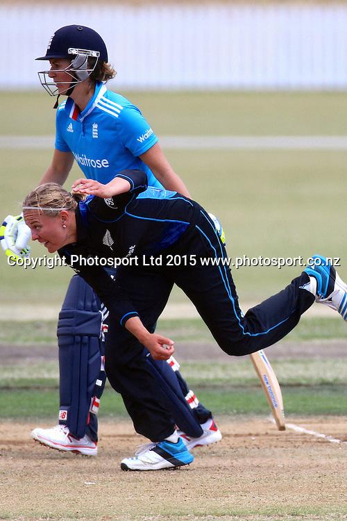 Lea Tahuhu bowling (Charlotte Edwards batter). 2nd Womens One Day International , New Zealand White Ferns v England at Mount Maunganui, New Zealand. 13 February 2015. Photo credit: Margot Butcher / www.photosport.co.nz