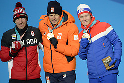 February 12, 2018 - Pyeongchang, South Korea - TED-JAN BLOEMEN of Canada , SVEN KRAMER of the Netherlands and SVERRE LUNDE PEDERSEN of Norway with their medalsl from the men's 5,000m Speed Skating event in the PyeongChang Olympic games. (Credit Image: © Christopher Levy via ZUMA Wire)