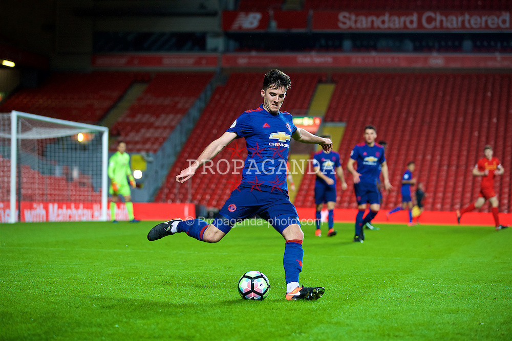 LIVERPOOL, ENGLAND - Monday, January 16, 2017: Manchester United's Sean Goss in action against Liverpool during FA Premier League 2 Division 1 Under-23 match at Anfield. (Pic by David Rawcliffe/Propaganda)