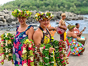 Shore Greeting, Polynesian Woman, with lei, Omao, Fatu Hiva, Marquesas, French Polynesia, South Pacific